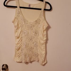 Max Rave Ivory and Silver Ruched Tank Top